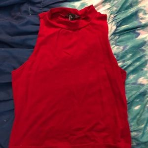 Red cropped tank top forever 21